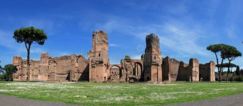 De ruïnes van de Baden van Caracalla in Rome royalty-vrije stock afbeelding