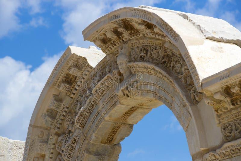 De ruïnes van de oude antieke stad van Ephesus stock foto's