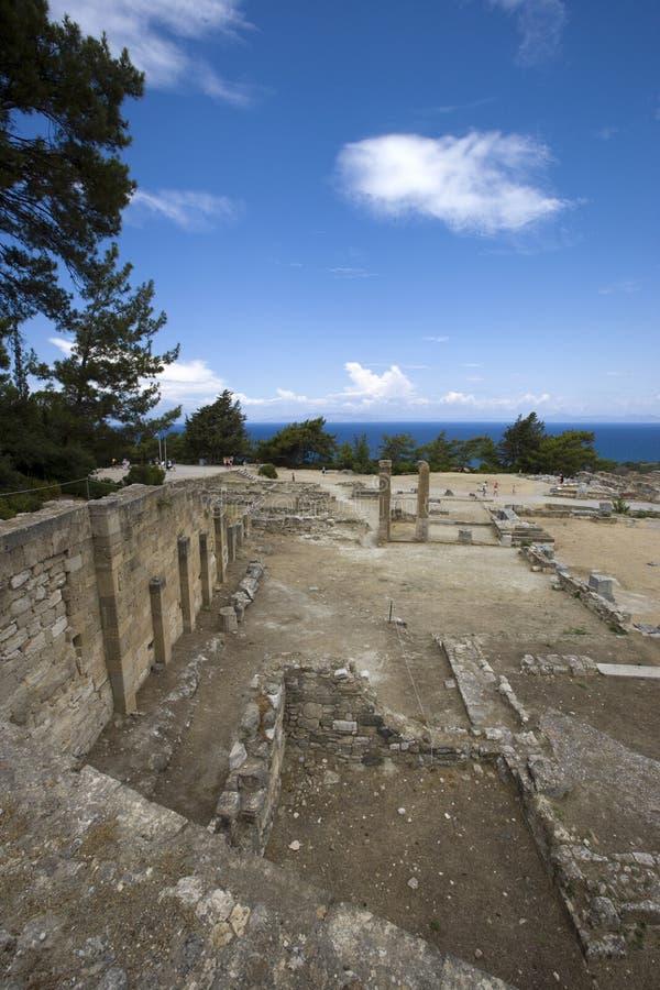 De ruïnes van de oude stad Kameiros (Kamiros) Het eiland van Rhodos, Griekenland stock foto's