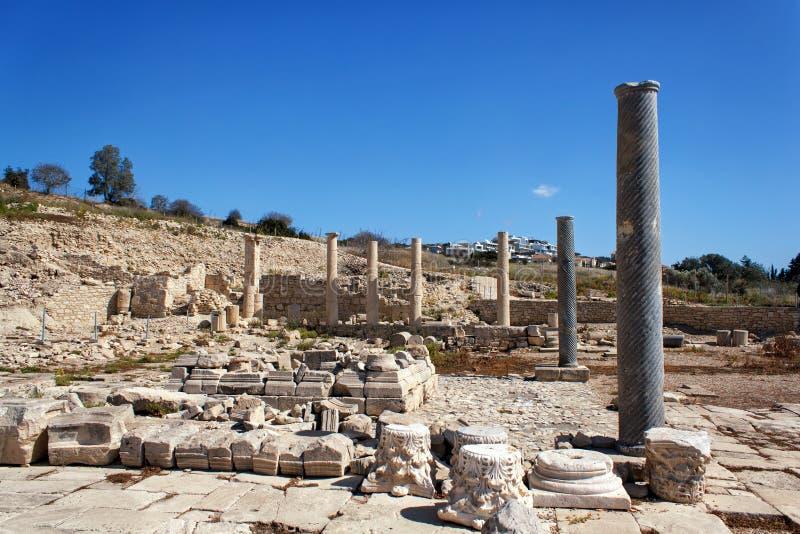 De ruïnes van de oude stad van Amathus, dichtbij Limassol, Cyprus stock foto