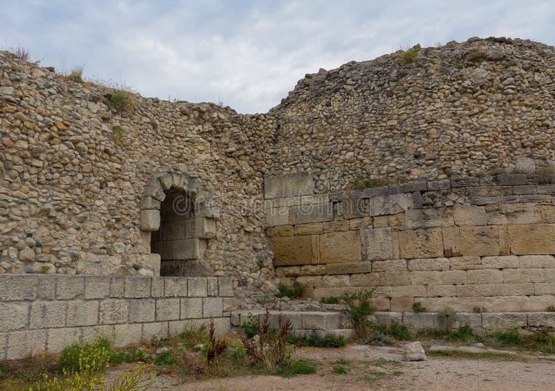 De ruïnes van de oude stad van Hersonissos stock foto's