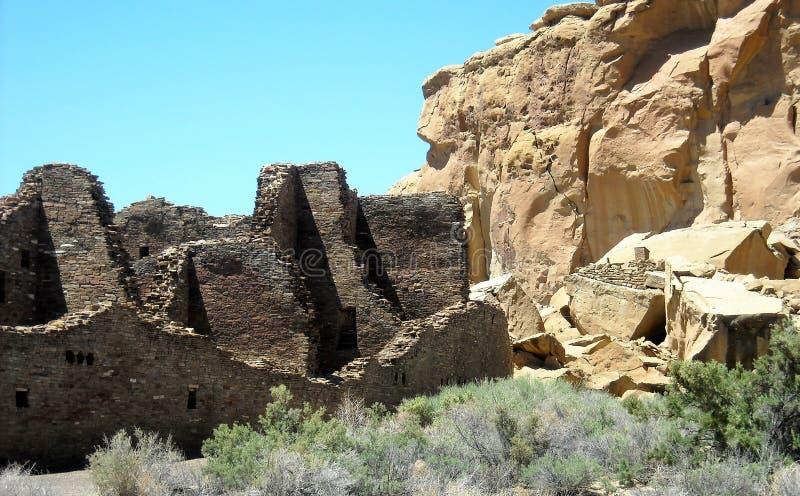 De Ruïnes van de Puebloboniter bij Chaco-Canion, Arizona stock foto's