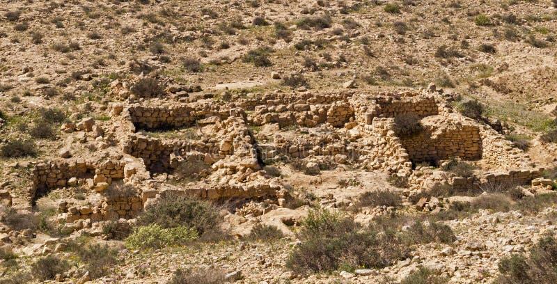 De ruïnes van een oude regeling ` verloren Stads` Negev woestijn, Israël stock afbeelding