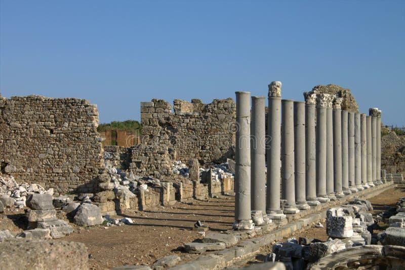 De ruïnes van een oude Roman stad in Kant Turkije stock afbeelding