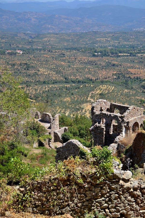 De Ruïnes van het huis, Hogere Stad, Mystras stock fotografie