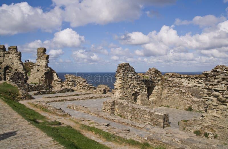 De ruïnes van het Kasteel van Tintagel stock foto