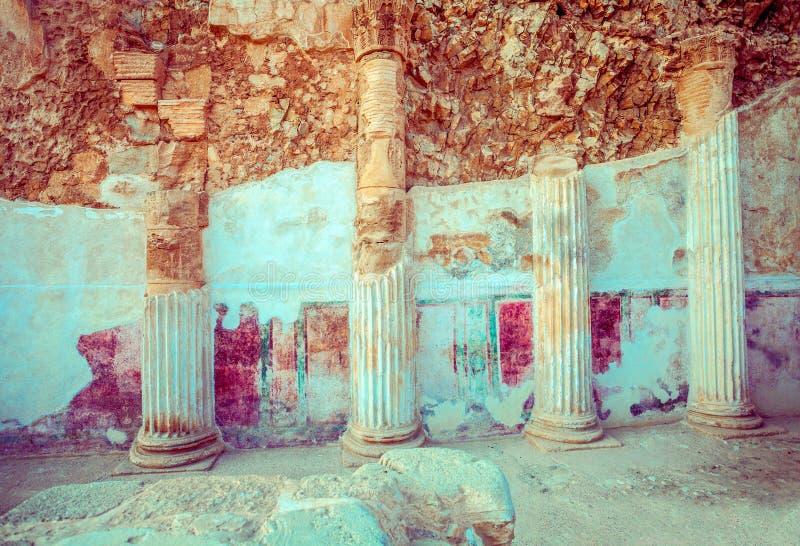 De ruïnes van het paleis van Koning Herod ` s Masada royalty-vrije stock afbeelding