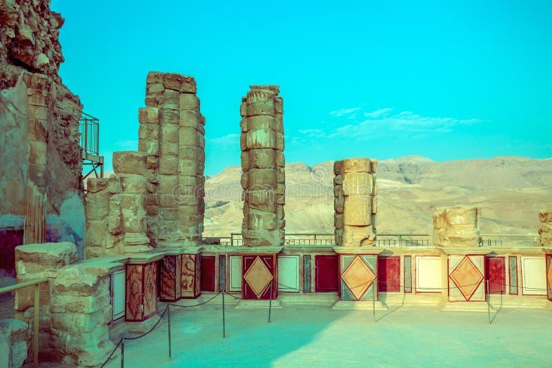 De ruïnes van het paleis van Koning Herod ` s Masada royalty-vrije stock foto