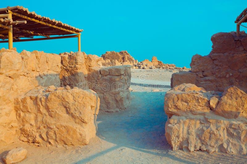 De ruïnes van het paleis van Koning Herod ` s Masada royalty-vrije stock afbeeldingen