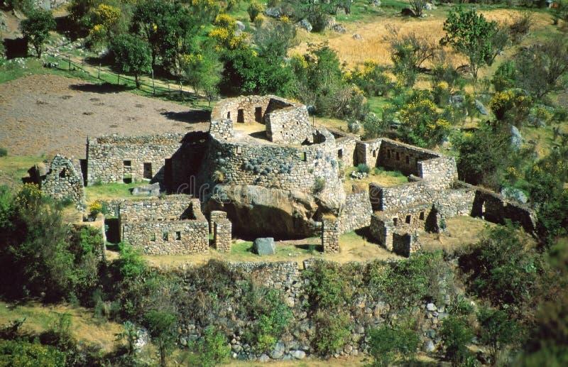 De ruïnes van Inca, Peru stock fotografie