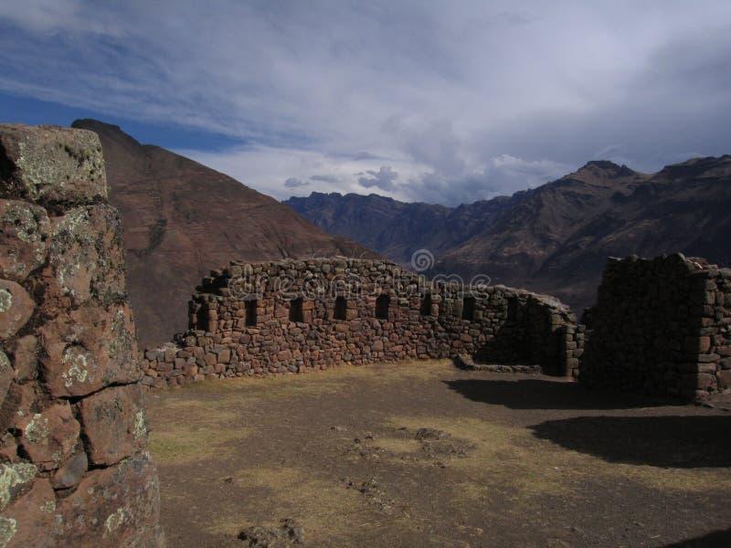 De ruïnes van Inca in Pisac stock afbeeldingen
