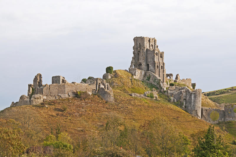De ruïnes van Kasteel Corfe stock fotografie