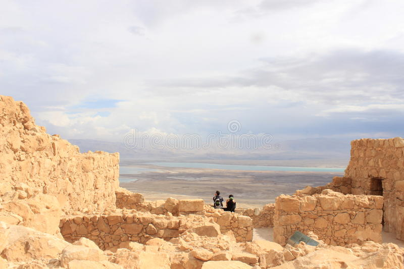 De Ruïnes van Masada in Israël stock afbeelding