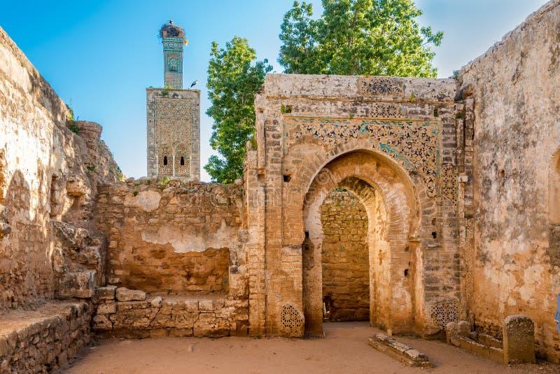 In de ruïnes van moskee in oude Chellah dichtbij Rabat, Marokko royalty-vrije stock foto's