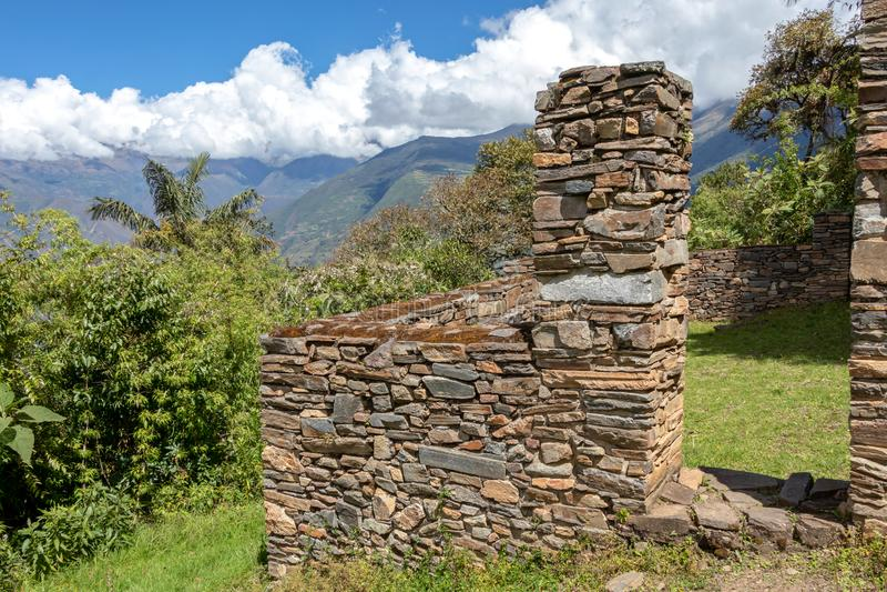 De ruïnes van de oude Inca-stad van Choquequirao, alternatief aan Machu Picchu, Peru stock foto's