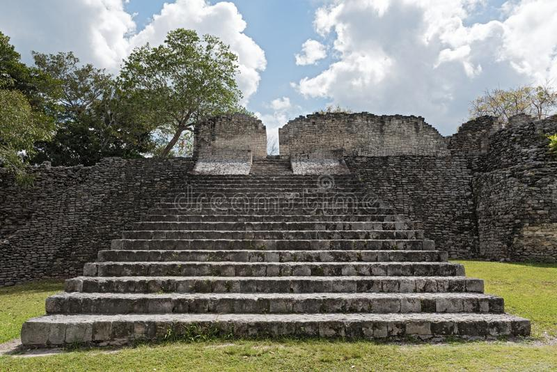 De ruïnes van de oude Mayan stad van Kohunlich, Quintana Roo, Mexico royalty-vrije stock foto's