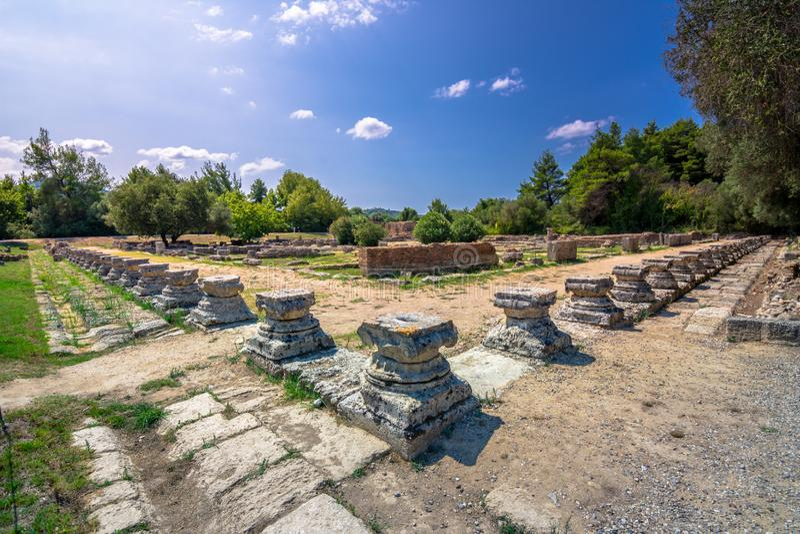 De ruïnes van oude Olympia, Griekenland Vindt hier plaats de aanraking van olympische vlam stock fotografie