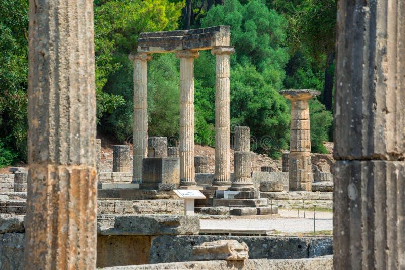 De ruïnes van oude Olympia, Griekenland Vindt hier plaats de aanraking van olympische vlam stock foto