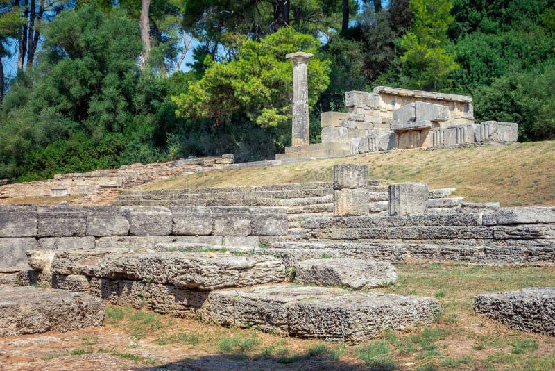 De ruïnes van oude Olympia, Griekenland Vindt hier plaats de aanraking van olympische vlam royalty-vrije stock afbeelding