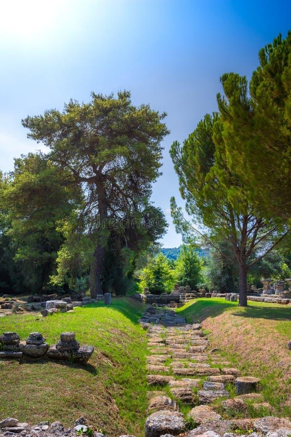 De ruïnes van oude Olympia, Griekenland Vindt hier plaats de aanraking van olympische vlam stock afbeelding