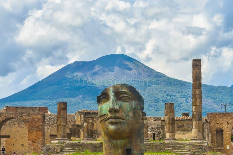 De ruïnes van Pompei na de uitbarsting van de Vesuvius in Pompei, Italië stock foto's