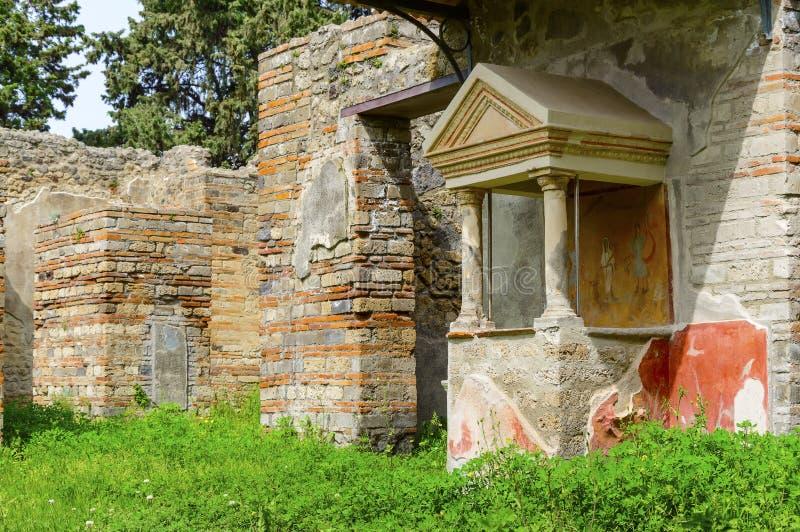 De ruïnes van Pompei: oud huis met fresko royalty-vrije stock afbeelding