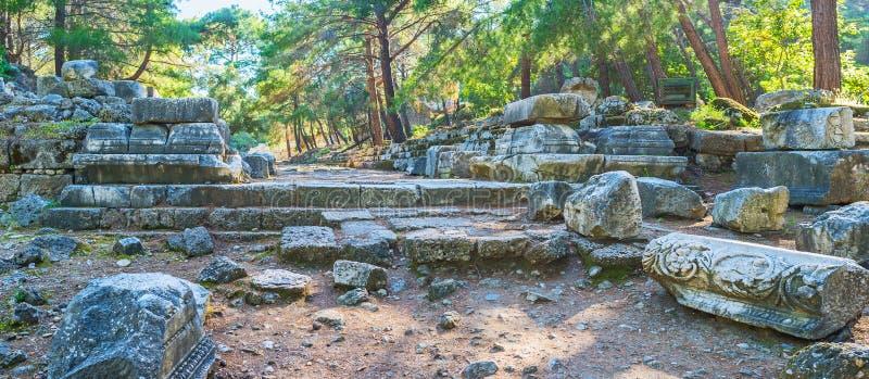 De ruïnes van de Poort van Hadrian ` s in Phaselis, Tekirova, Turkije stock foto's