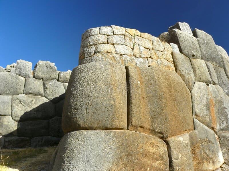De Ruïnes van Sacsayhuaman, Cuzco, Peru. stock fotografie