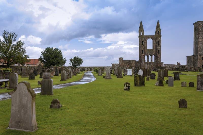 De ruïnes van St Andrews Cathedral in St Andrews, Fife, Schotland stock foto