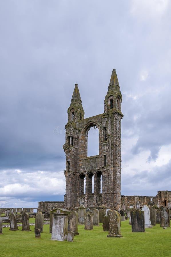 De ruïnes van St Andrews Cathedral in St Andrews, Fife, Schotland royalty-vrije stock foto's