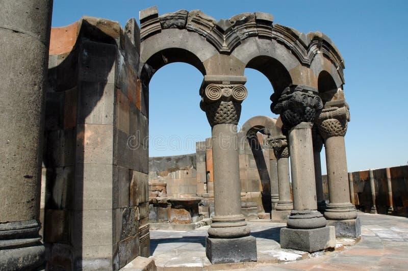 De ruïnes van Zvarnots kathedraal, Armenië royalty-vrije stock fotografie