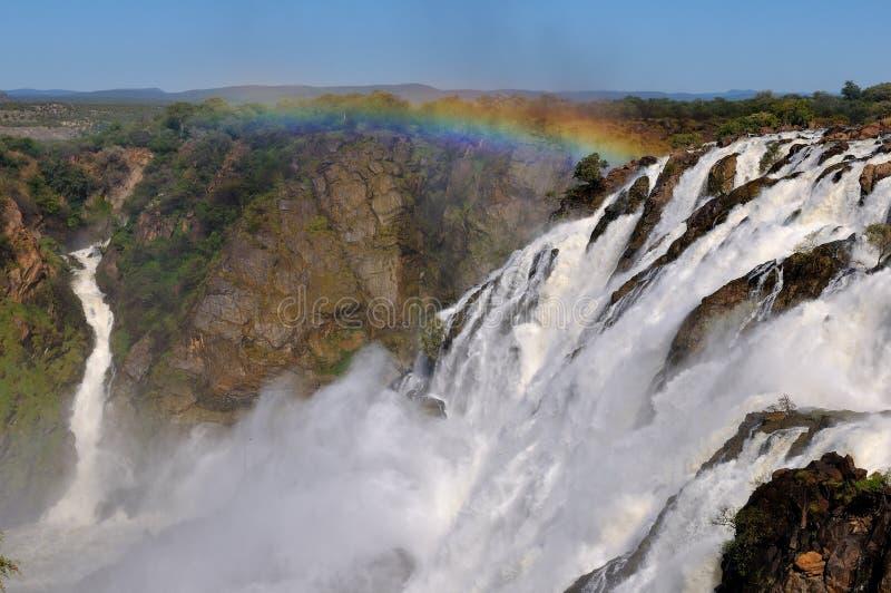 De Ruacana watervallen, Namibië stock afbeelding