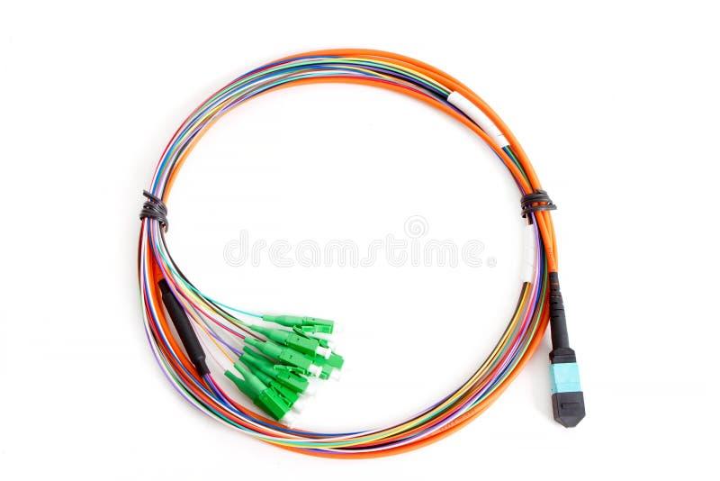 De ruban de fibre d'amusement patchcord optique avec le connecteur MTP images libres de droits