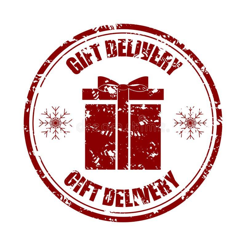 De rubberzegel van de giftlevering aan Kerstmisvakantie stock illustratie