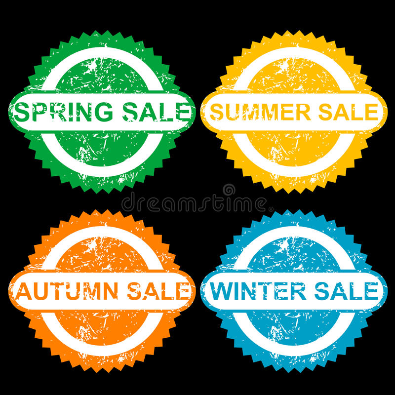 De rubberzegels met tekst springen verkoop op, sumer verkoop, de herfstverkoop en vector illustratie
