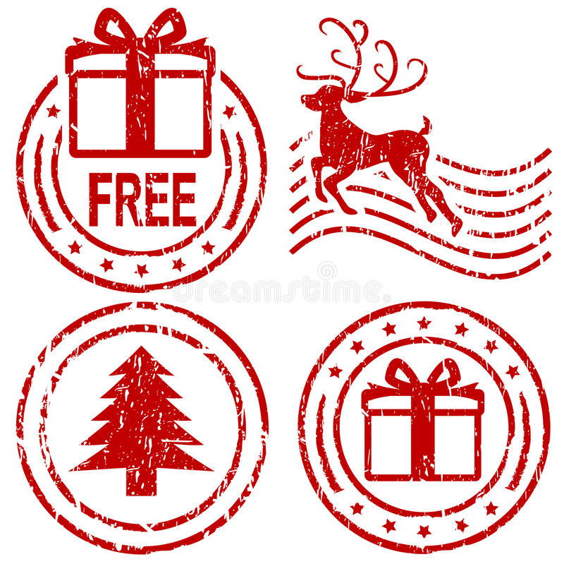 De rubberzegels van Kerstmis vector illustratie