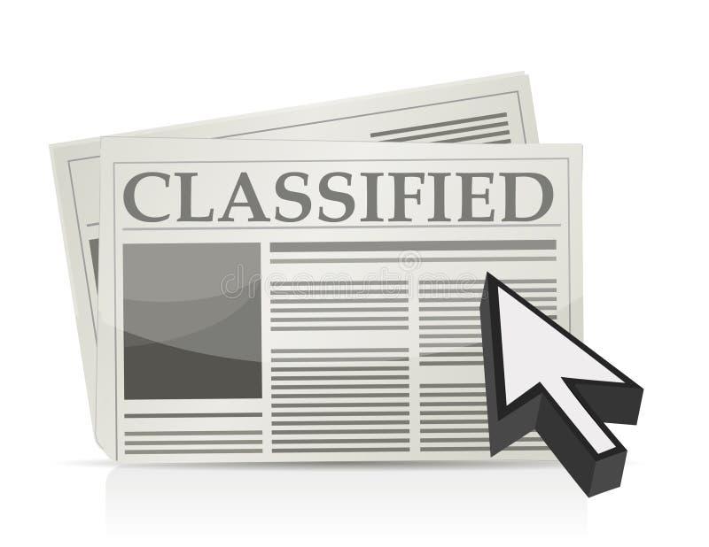 De rubriekadvertentiespagina en curseur van de krant stock illustratie