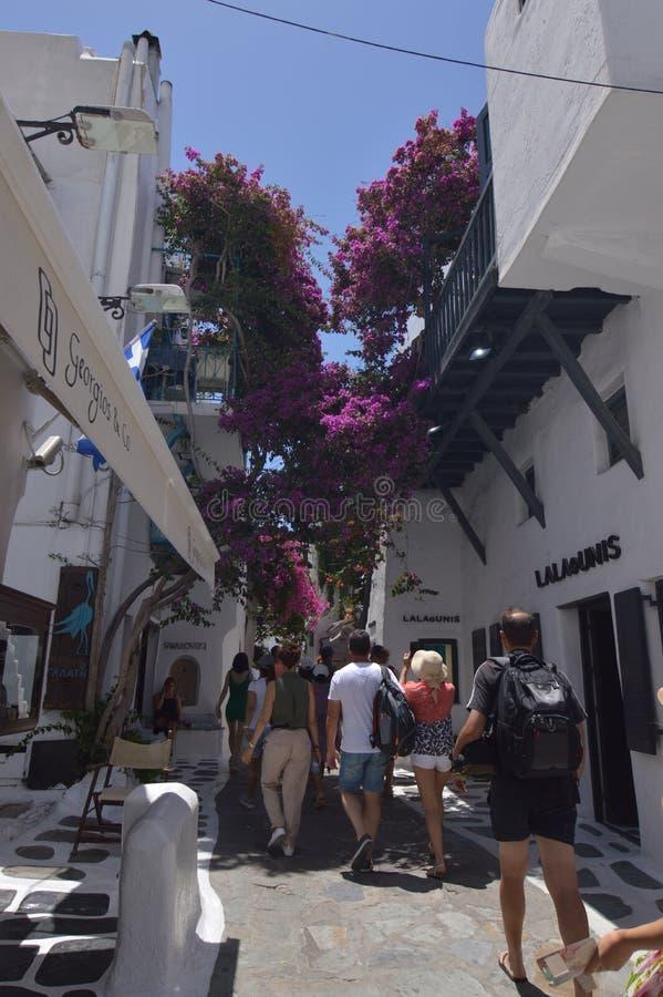 De rues étroit pittoresque très complètement des boutiques en île de Chora de Mikonos Arte History Architecture photographie stock