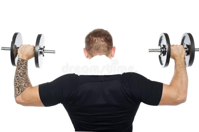 De rug stelt van mannelijke bodybuilder het opheffen gewichten stock afbeelding