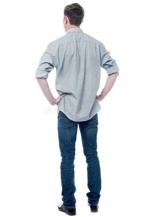 De rug stelt van slimme jonge kerel stock foto