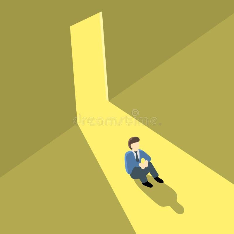De rug van de zakenmandraai ziet of niet de geopende deur als opportunit royalty-vrije illustratie