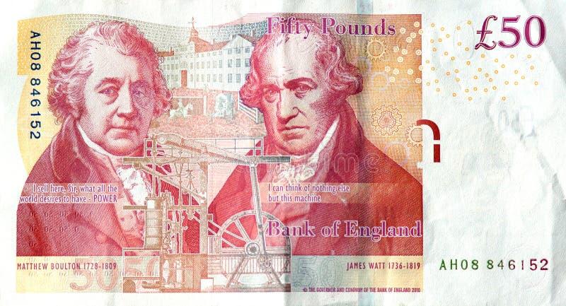 De rug van een £50 royalty-vrije stock afbeelding