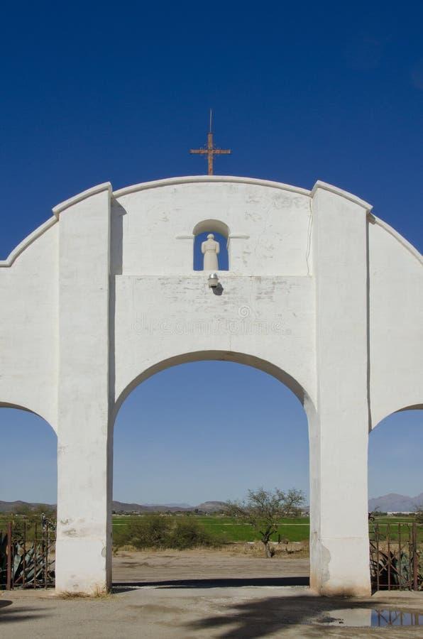 De rug van San Xavier del Bac Mission stock afbeelding