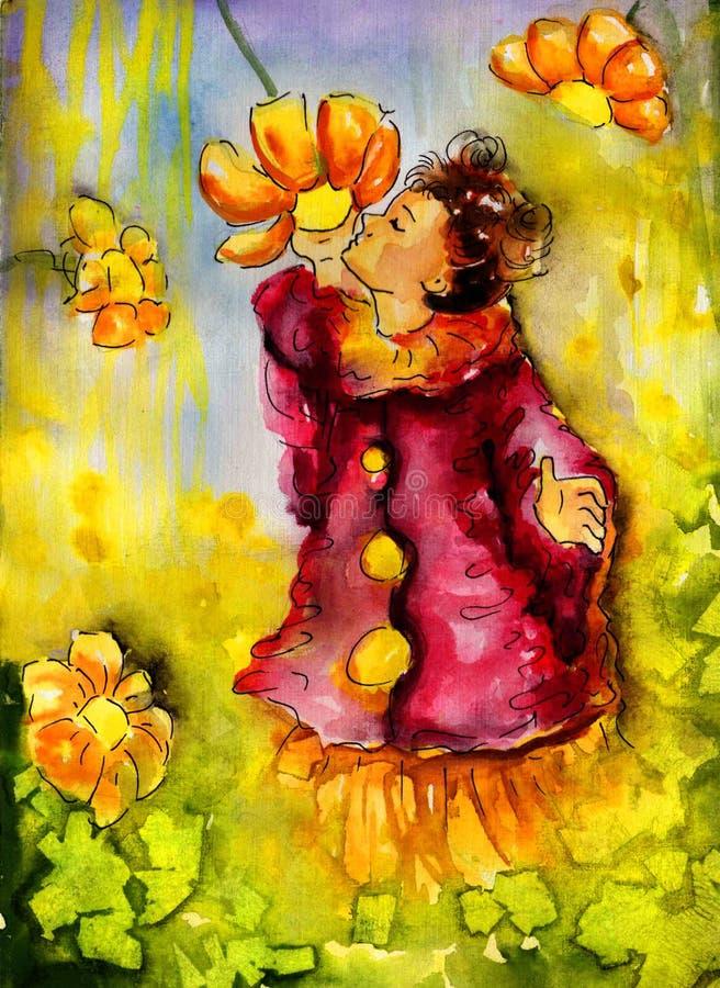 De ruikende bloemen van het meisje vector illustratie