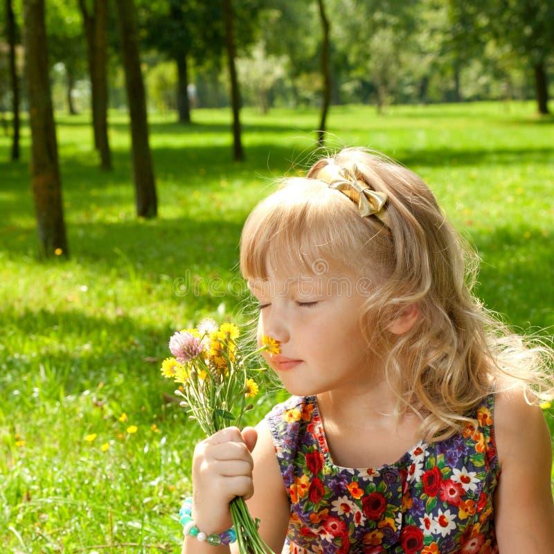 De ruikende bloemen van het meisje royalty-vrije stock afbeelding