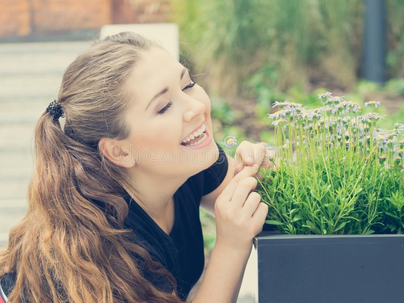 De ruikende bloemen van de vrouw stock fotografie