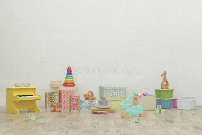 De ruimte binnenlands beeld van het jonge geitjesspel het 3d teruggeven royalty-vrije stock afbeelding