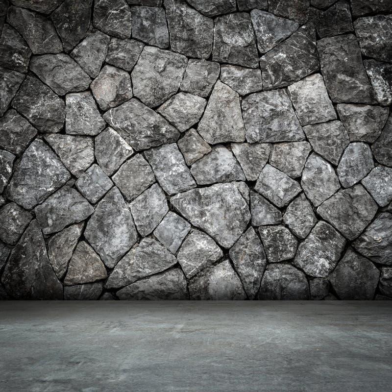 De ruimte binnenlandse en concrete vloer van de steenmuur stock fotografie