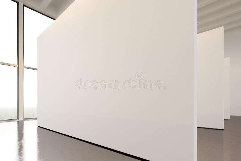 De ruimte moderne galerij van de fototentoonstelling Groot wit leeg canvas die eigentijds kunstmuseum hangen Binnenlandse zolders stock foto