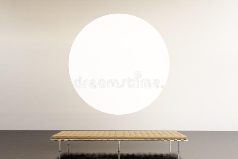 De ruimte moderne galerij van de fototentoonstelling Rond wit leeg canvas die eigentijds kunstmuseum hangen Binnenlandse zolderst royalty-vrije stock foto